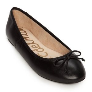 SAM EDELMAN CARRIE BLACK LEATHER BOW TIE FLATS